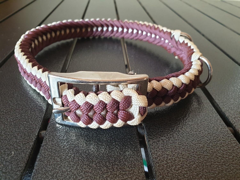 Burgundy and White Medium Collar