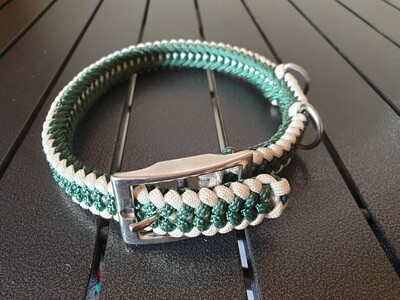Hunter Green and white Medium Collar