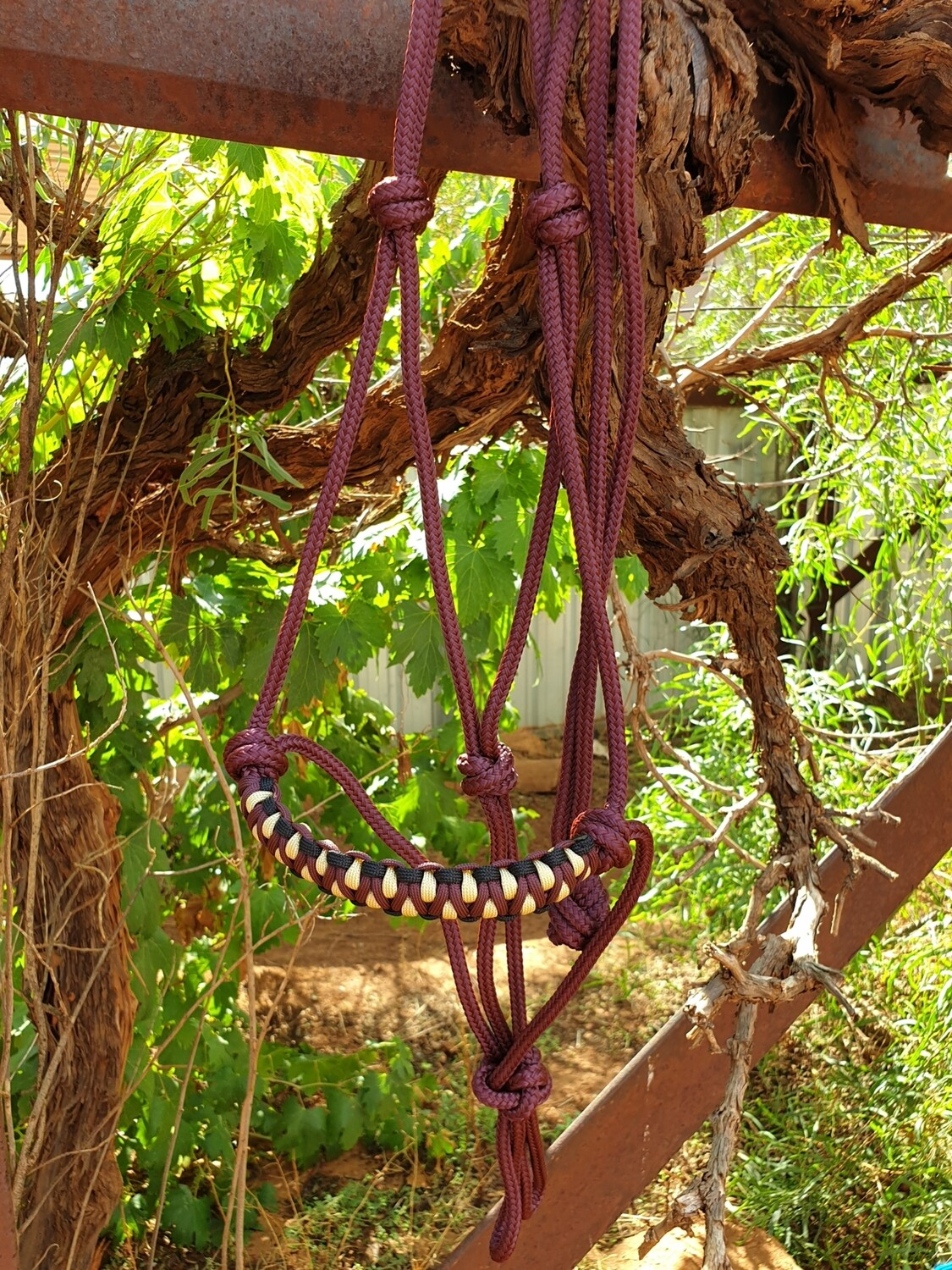 Burgundy, black and biege Drakon Halter