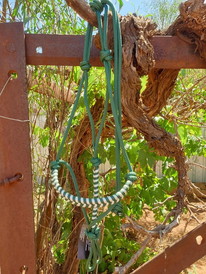 Aztec Hunter Green/White Rope Halter