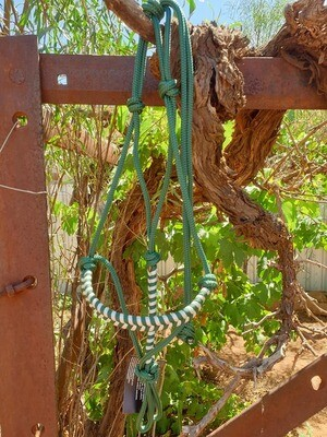Aztec Hunter Green/White Rope Halter