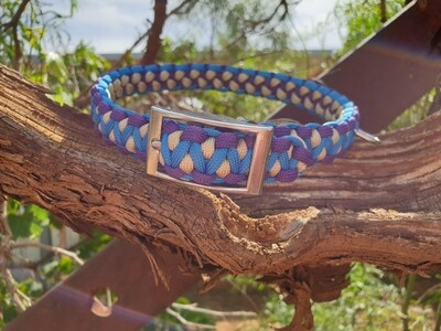 Blue, purple and biege drakon collar
