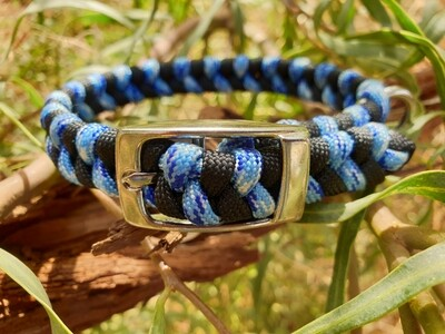 Methane blue and black x-small dog collar