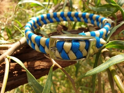Blue and biege  x-small dog collar