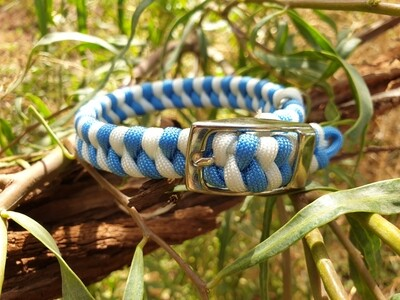 Baby blue and white x-small dog collar