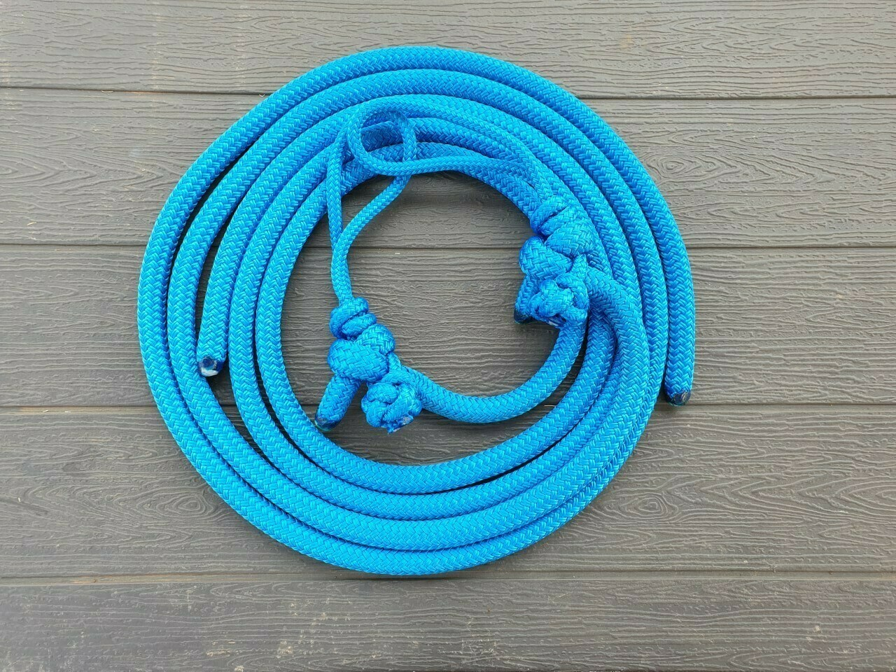 Blue Rope Reins with Bit Connector