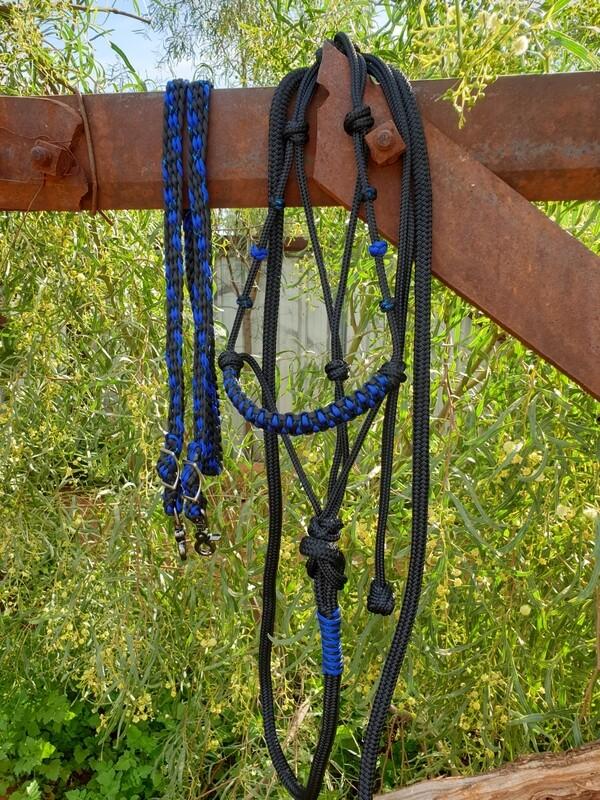Drakon Midnight Blue/Black Rope Halter, Lead with Braided Reins