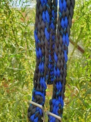 Midnight Black/Blue/Black with Metallic Blue Fleck Braided Reins