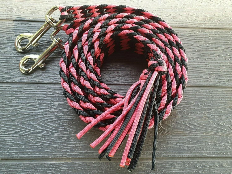 Pink/Black Braided Reins