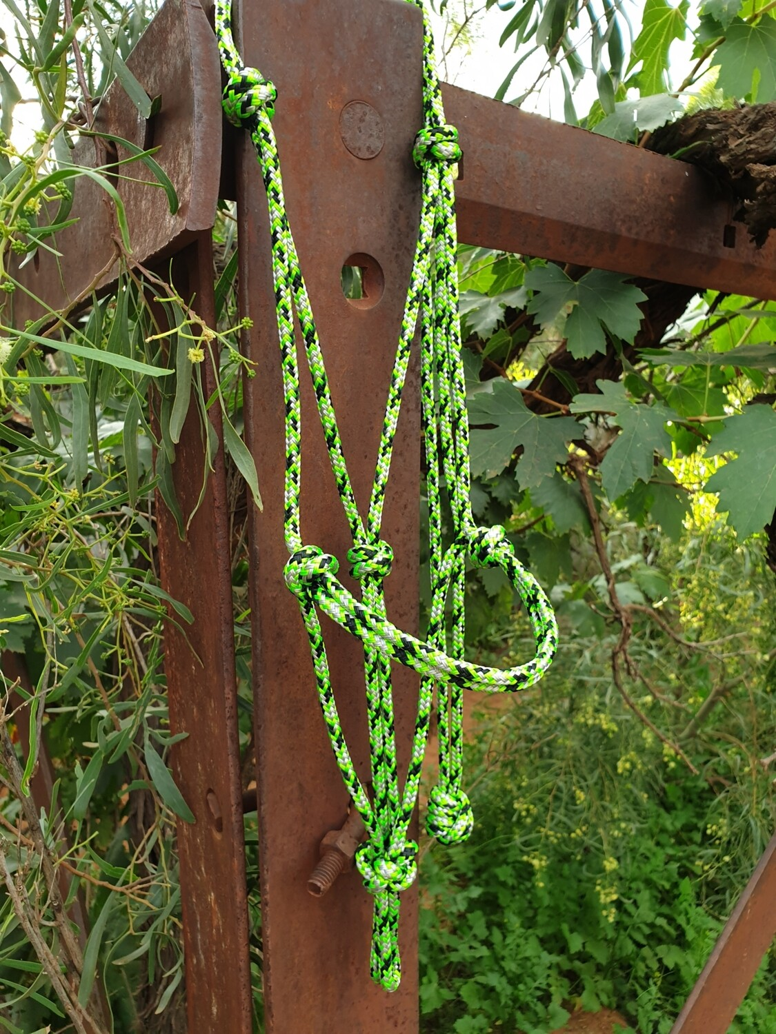 Lime Green/Silver/Black Rope Halter