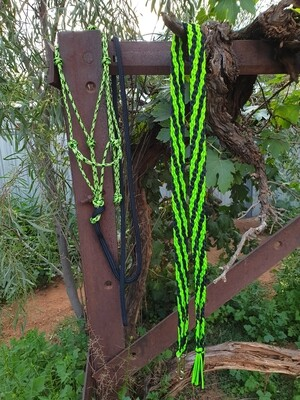 Lime Green/Silver/Black Rope Halter, Lead and Braided Reins Set