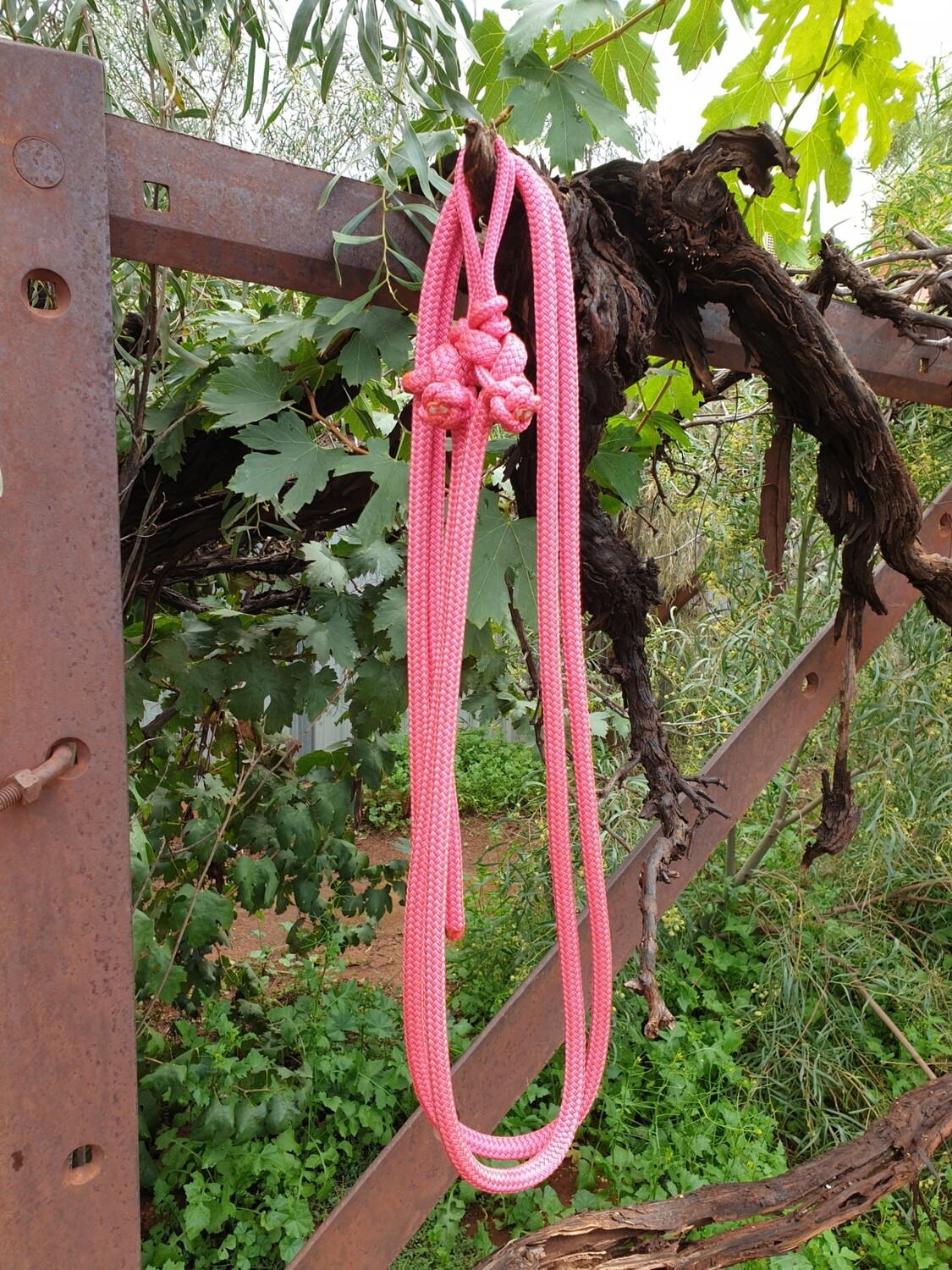 Pink Rope Reins with Bit Connector