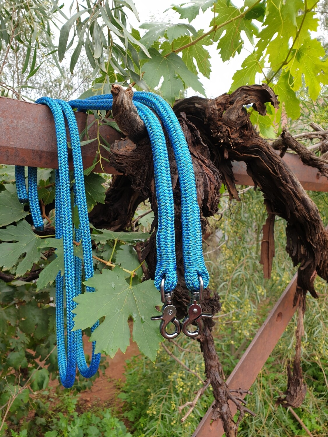 Mottled Blue/Green Rope Reins with Trigger Clips