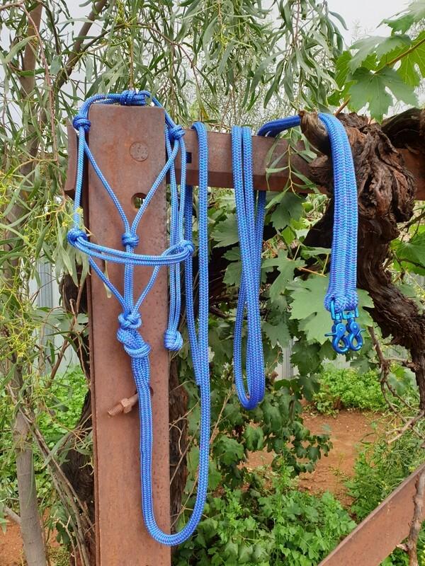 Mottled Blue/Purple Rope Halter, Lead and Rope Reins Set
