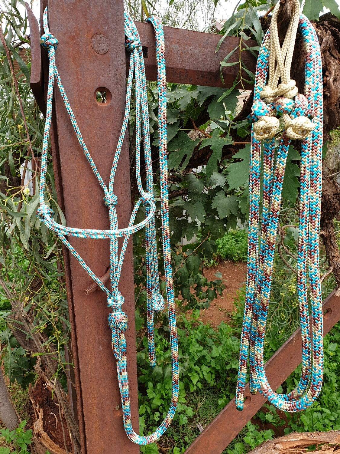 Aqua/Beige/Brown Rope Halter, Lead and Rope Reins Set