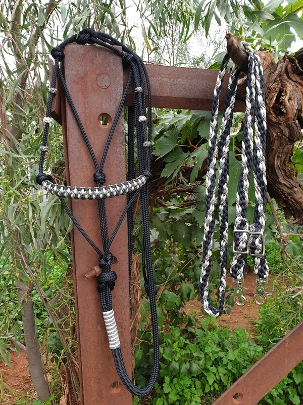 Drakon Midnight Silver/Black Rope Halter, Lead and Braided Reins Set