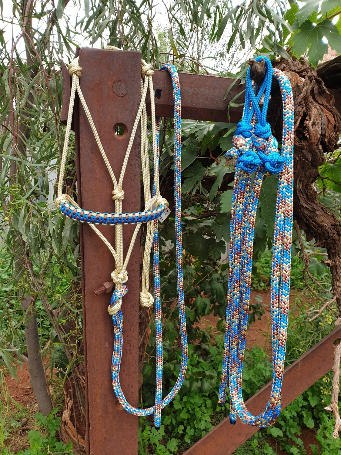 Drakon Beige/Blue/Brown Rope Halter, Lead and Rope Reins Set