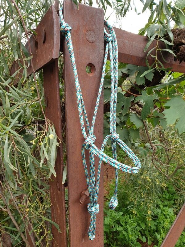 Aqua/Biege/Brown Rope Halter