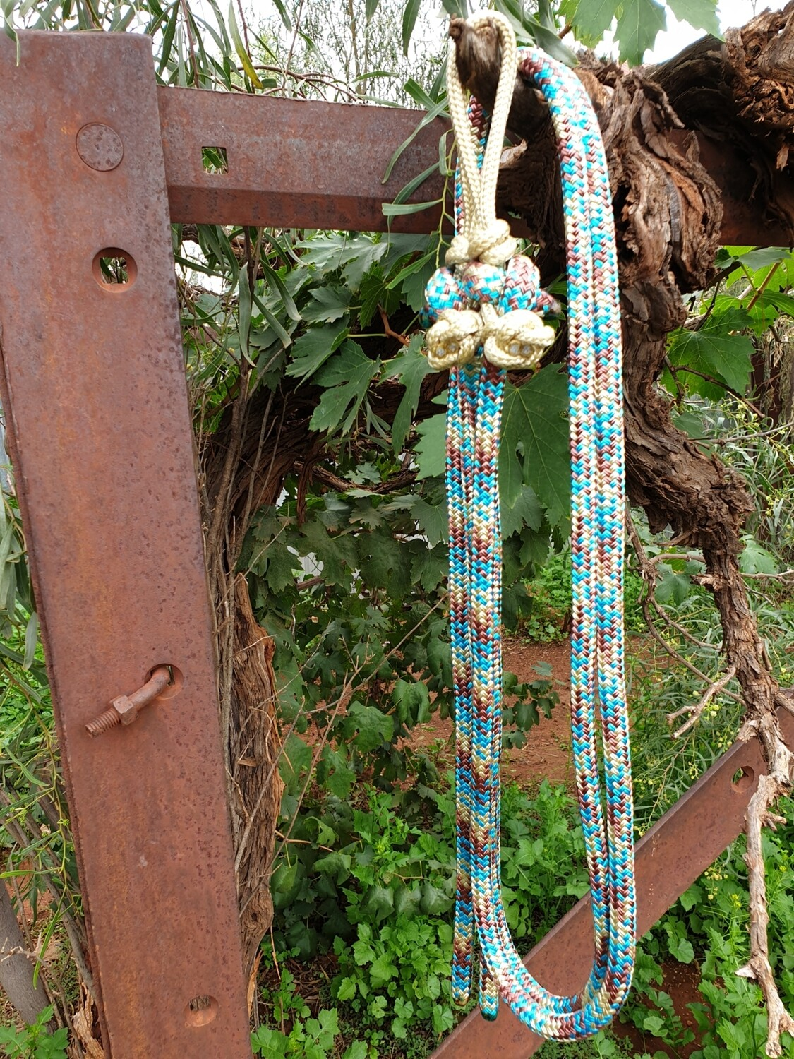 Aqua/Biege/Brown Rope Reins with Bit Connector