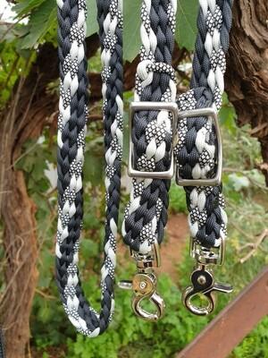 Midnight Black/Black-Silver Diamond/Silver Braided Reins