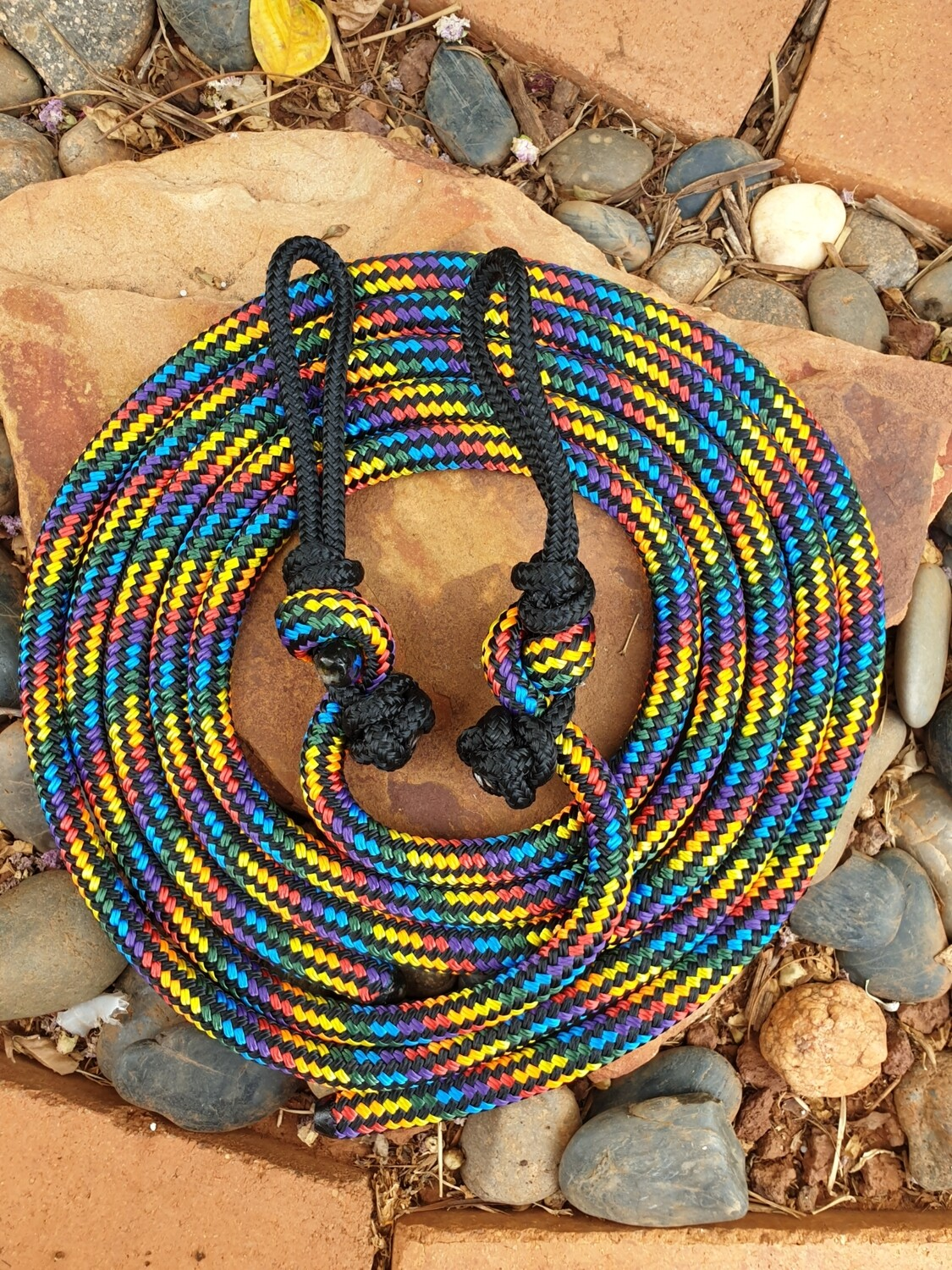 Black Rainbow Rope Reins with Bit Connector