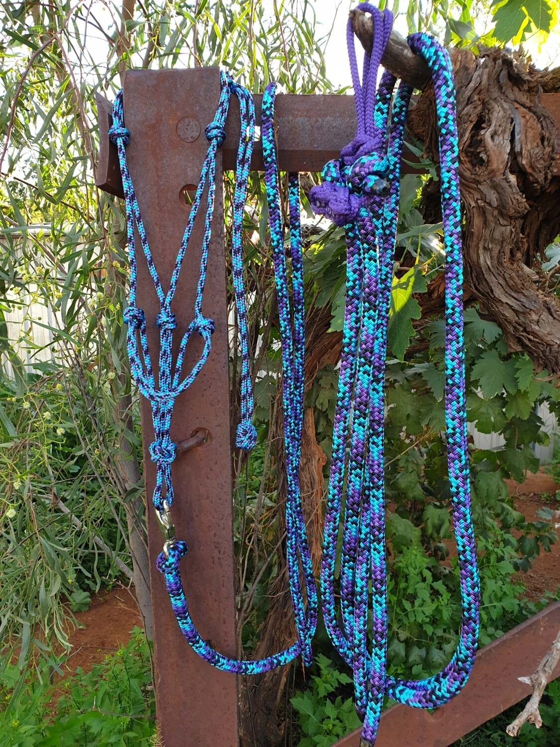 Aqua/Black/Purple Rope Halter, Lead and Rope Reins Set