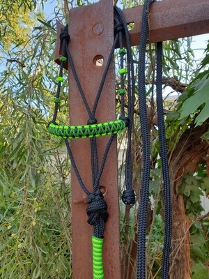 Drakon Midnight Black/Lime Green Rope Halter
