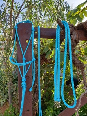 Aqua Rope Halter, Lead and Rope Reins Set