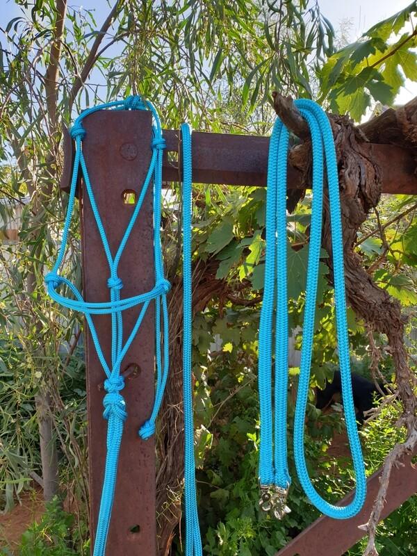 Aqua Rope Halter, Lead and Rope Reins Set