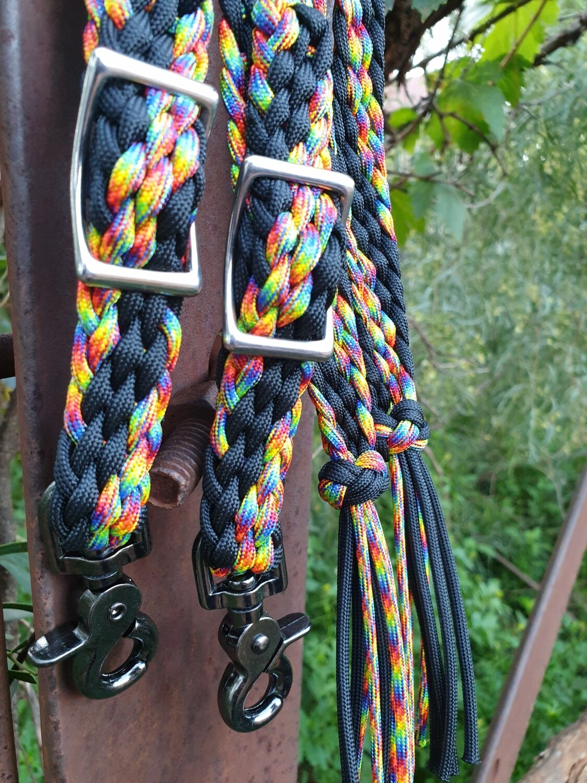 Midnight Black/Rainbow Braided Reins