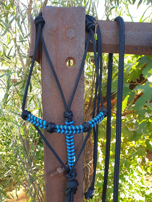 4 Knot Halter with Aztec Braid Black/Blue