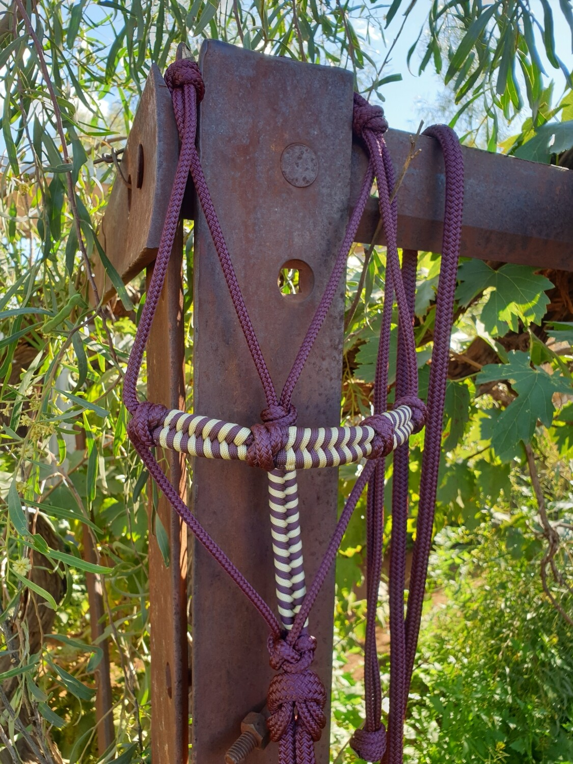 4 Knot Halter with Aztec Braid Burgundy/Beige