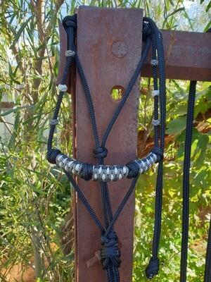 4 Knot Halter with Drakkon Braid Black/Midnight Silver