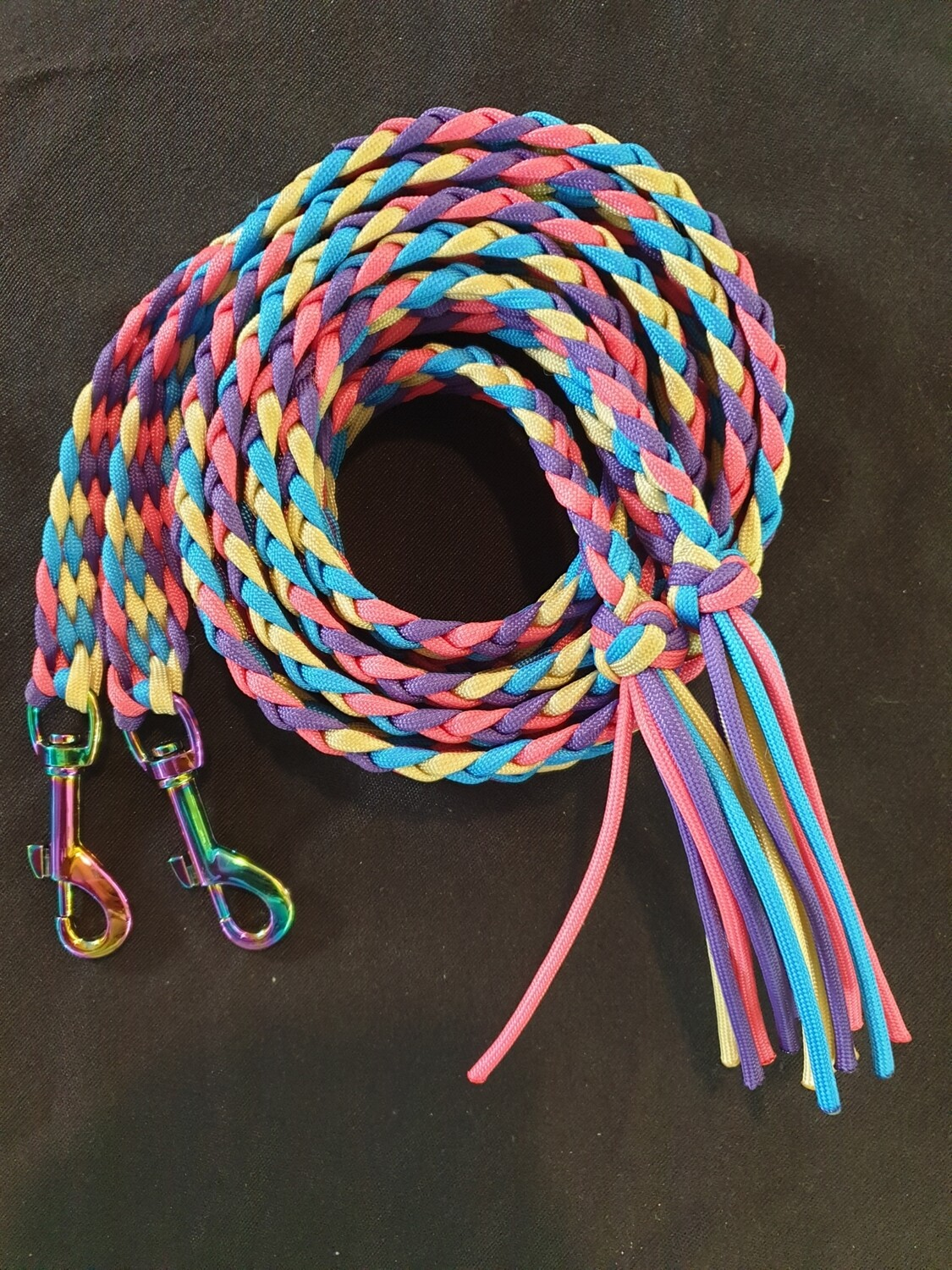 6ft Beige/Purple/Pink/Blue Split Braided Reins