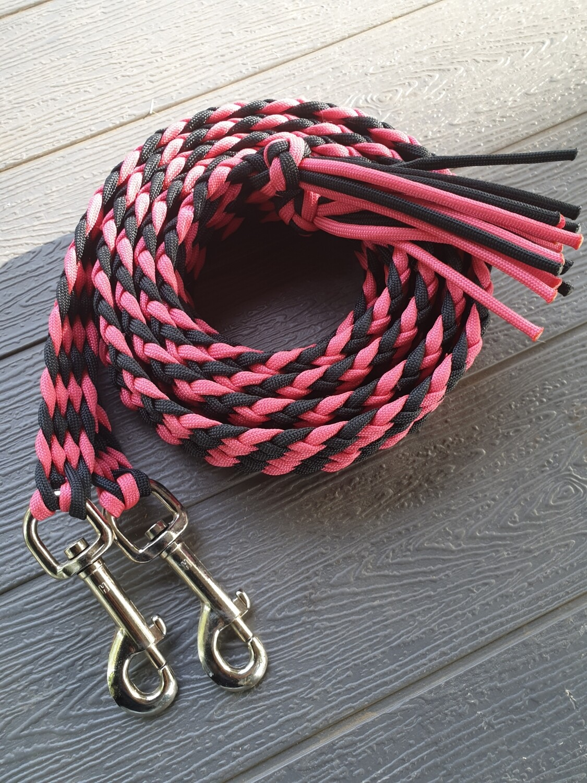 6ft Pink/Black Split Braided Reins