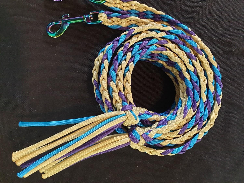 6ft Beige/Purple/Blue Split Braided Reins