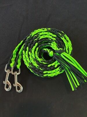 6ft Lime Green/Black Split Braided Reins