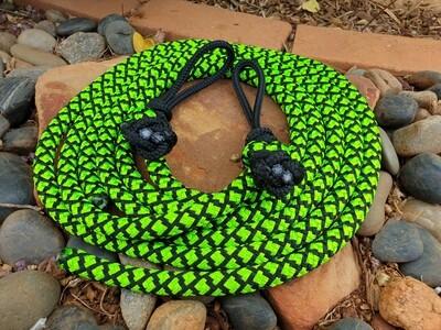 6ft Lime Green/Black Diamonds Split Rope Reins