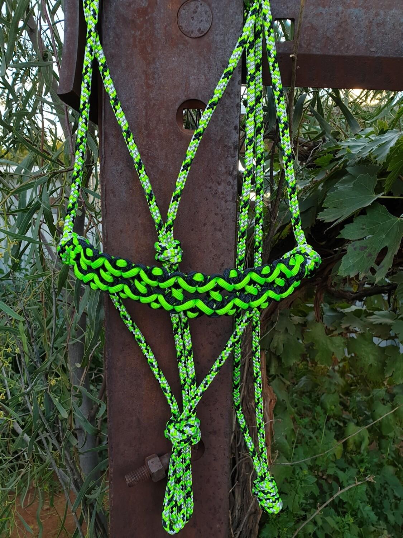 Neptune Lime Green/Black/Silver Rope Halter