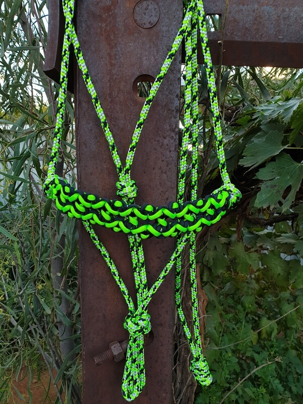 Neptune Lime Green/Black/Silver Rope Halter