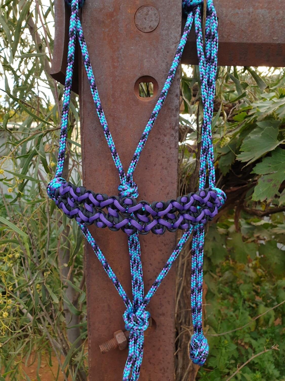 Neptune Aqua/Black/Purple Rope Halter