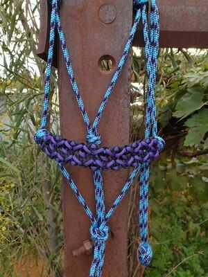 Neptune Aqua/Black/Purple Rope Halter