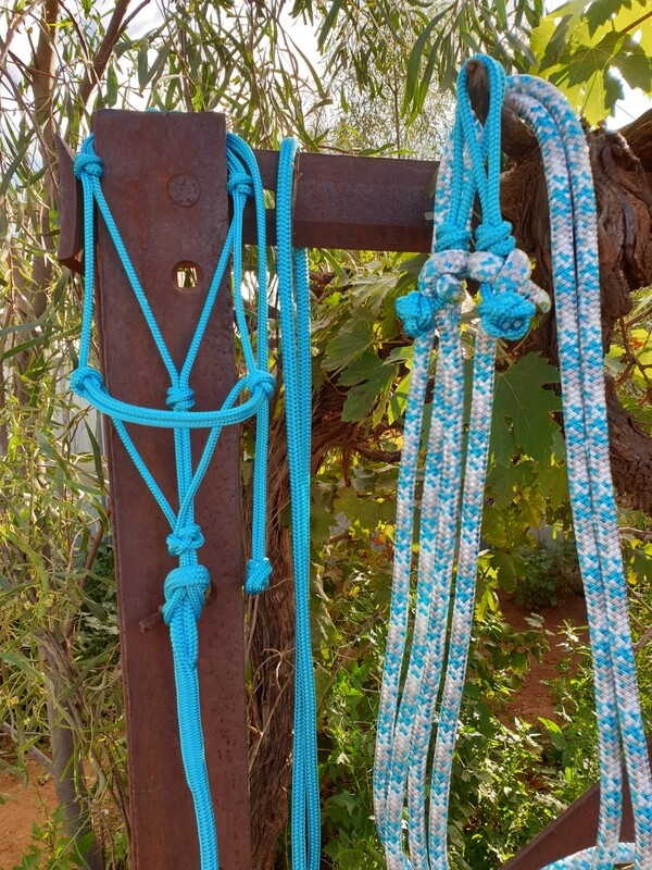Aqua/Silver/White Rope Halter, Lead and Rope Reins Set