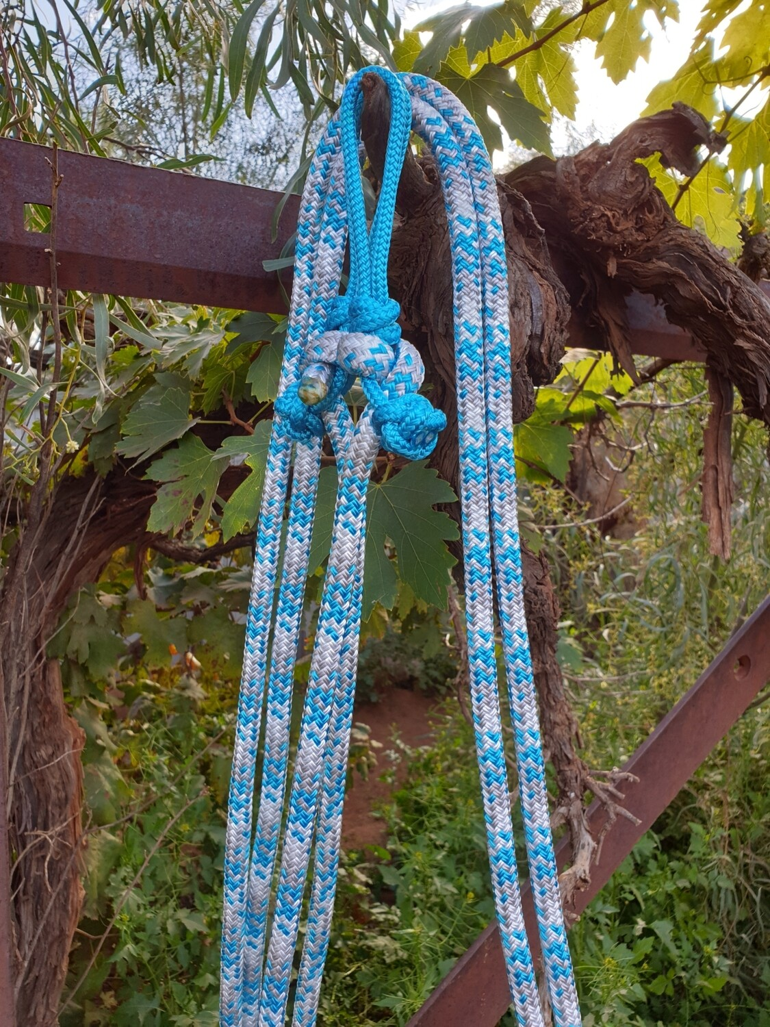 Aqua/Silver/White Rope Reins with Bit Connector