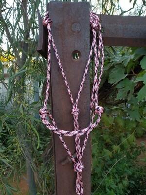 Pink/White/Black Rope halter