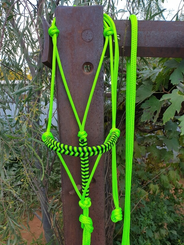 Aztec Lime Green/Black Rope Halter