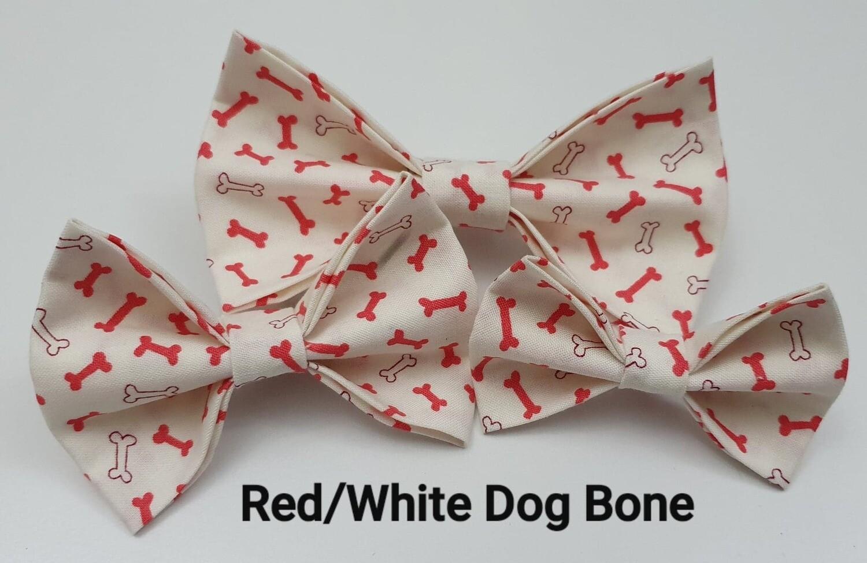 Red/White Dog Bone Bowtie