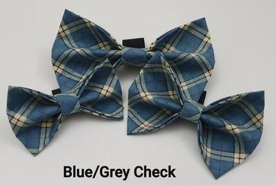 Blue/Grey Check Bowtie
