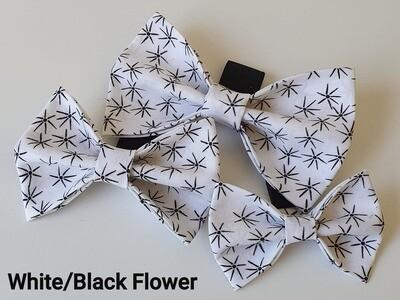 White & Black Flower Bowtie