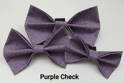 Purple Check Bowtie